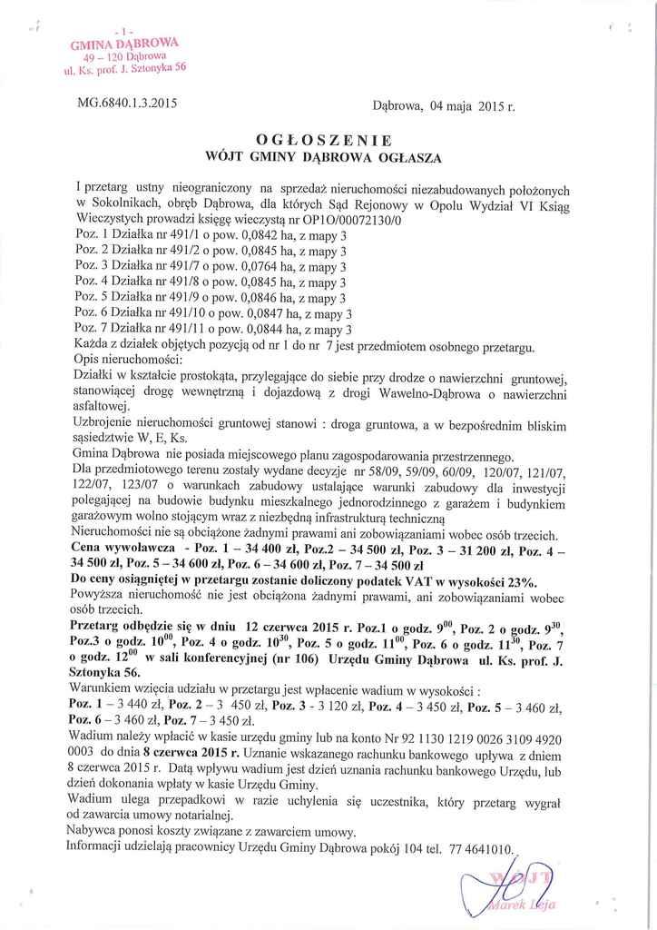 Ogłoszenie nr MG.6840.1.3.2015 z 04.05.2015r.